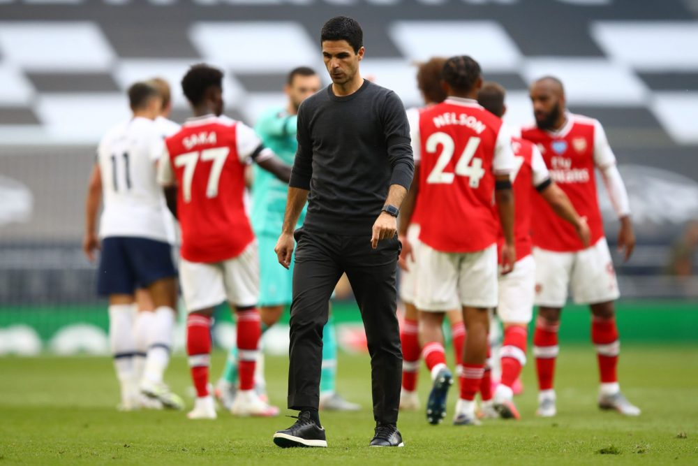 Arsenal's Spanish head coach Mikel Arteta reacts to their defeat on the pitch after the English Premier League football match between Tottenham Hotspur and Arsenal at Tottenham Hotspur Stadium in London, on July 12, 2020. (Photo by Julian Finney / POOL / AFP) / RESTRICTED TO EDITORIAL USE. No use with unauthorized audio, video, data, fixture lists, club/league logos or 'live' services. Online in-match use limited to 120 images. An additional 40 images may be used in extra time. No video emulation. Social media in-match use limited to 120 images. An additional 40 images may be used in extra time. No use in betting publications, games or single club/league/player publications. / (Photo by JULIAN FINNEY/POOL/AFP via Getty Images)