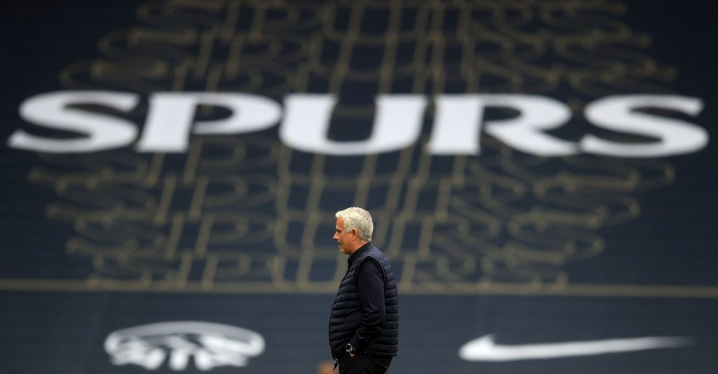 Tottenham Hotspur's Portuguese head coach Jose Mourinho walks on th epitch ahead of the second half during the English Premier League football match between Tottenham Hotspur and Leicester City at Tottenham Hotspur Stadium in London, on July 19, 2020. (Photo by Adam Davy / POOL / AFP)