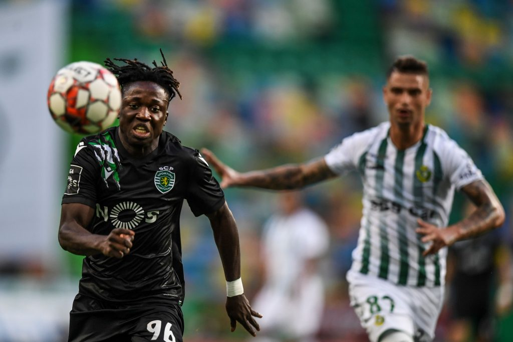 Sporting's Portuguese forward Joelson Fernandes (L) challenges Vitoria Setubal's Portuguese forward Zequinha Branco during the Portuguese League football match between Sporting CP and Vitoria FC at the Jose Alvalade stadium in Lisbon on July 21, 2020. (Photo by PATRICIA DE MELO MOREIRA / AFP) (Photo by PATRICIA DE MELO MOREIRA/AFP via Getty Images)