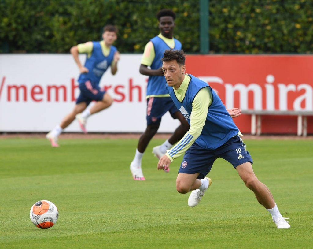 ST ALBANS, ENGLAND - JULY 25: of Arsenal during a training session at London Colney on July 25, 2020 in St Albans, England. (Photo by Stuart MacFarlane/Arsenal FC via Getty Images)
