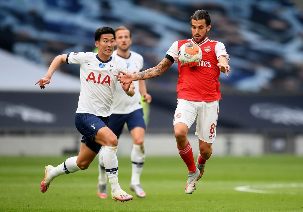 LONDON, ENGLAND - JULY 12: Dani Ceballos of Arsenal  battles for possession with  Heung-Min Son of Tottenham Hotspur  during the Premier League match between Tottenham Hotspur and Arsenal FC at Tottenham Hotspur Stadium on July 12, 2020 in London, England. Football Stadiums around Europe remain empty due to the Coronavirus Pandemic as Government social distancing laws prohibit fans inside venues resulting in all fixtures being played behind closed doors. (Photo by Michael Regan/Getty Images)