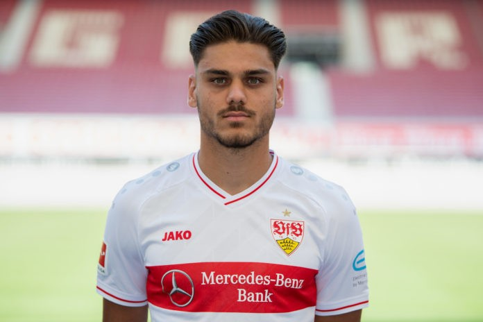 STUTTGART, GERMANY - AUGUST 10: Konstantinos Mavropanos of VfB Stuttgart poses during the team presentation at Mercedes-Benz Arena on August 10, 2020 in Stuttgart, Germany. (Photo by Matthias Hangst/Getty Images)
