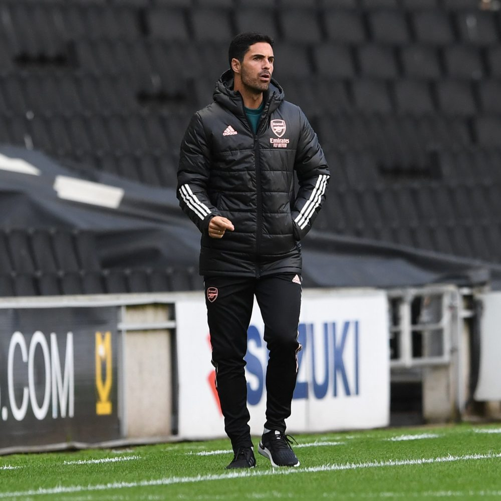 Mikel Arteta at the friendly match against MK Dons (Photo via Arsenal on Twitter)