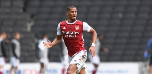 William Saliba on his friendly debut against MK Dons (Photo via David Price on Twitter)