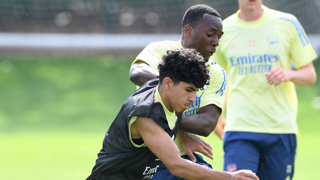 ST ALBANS, ENGLAND - AUGUST 17: Salah Oulad M'Hand and tolaji Bola of Arsenal during the Arsenal U23 training session at London Colney on August 17, 2020 in St Albans, England. (Photo by David Price/Arsenal FC via Getty Images)