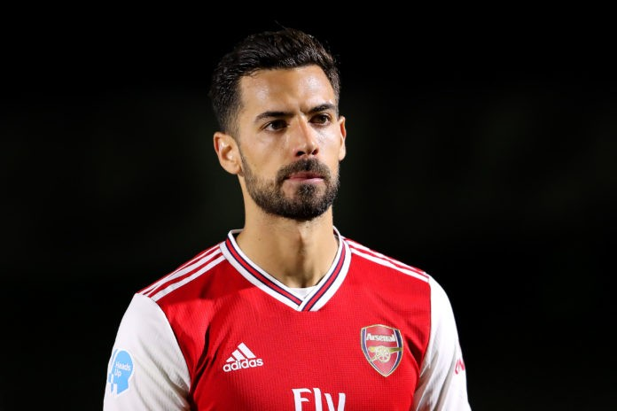 BOREHAMWOOD, ENGLAND - FEBRUARY 17: Pablo Mari of Arsenal FC looks on prior to the Premier League 2 match between Arsenal FC U23s and Chelsea FC U23s at Meadow Park on February 17, 2020 in Borehamwood, England. (Photo by James Chance/Getty Images)