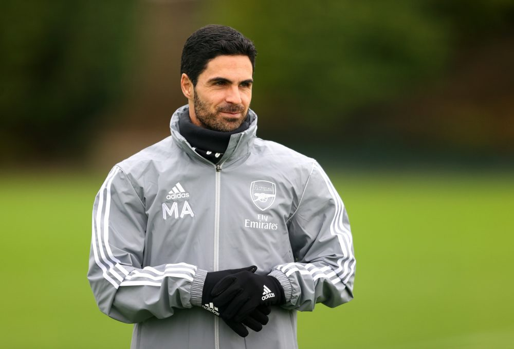 ST ALBANS, ENGLAND - FEBRUARY 19: Arsenal Manager, Mikel Arteta looks on during a Arsenal Training Session at London Colney on February 19, 2020 in St Albans, England. (Photo by Richard Heathcote/Getty Images)