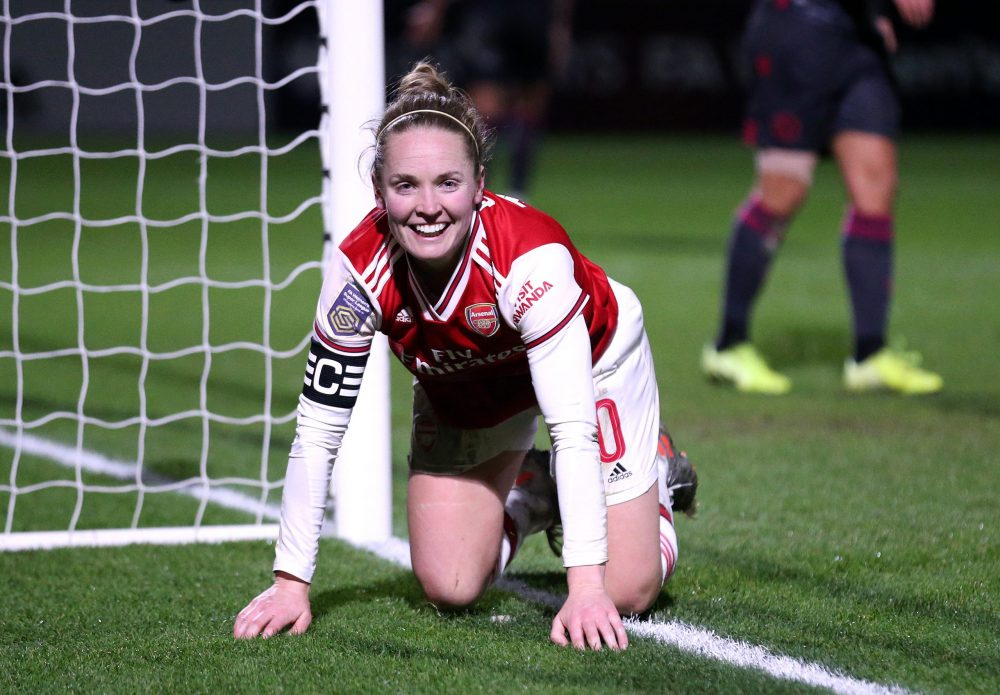 BOREHAMWOOD, ENGLAND - JANUARY 15: Kim Little of Arsenal celebrates after scoring her team's first goal during the FA Women's Continental League Cup Quarter Final match between Arsenal Women and Reading Women at Meadow Park on January 15, 2020 in Borehamwood, England. (Photo by Alex Pantling/Getty Images)