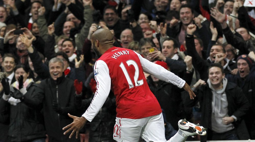 Arsenal's French player Thierry Henry, on loan from New York Red Bulls, celebrates scoring a goal during the third round FA Cup football match between Arsenal and Leeds United at The Emirates Stadium in London, on January 9, 2012. AFP PHOTO/IAN KINGTON