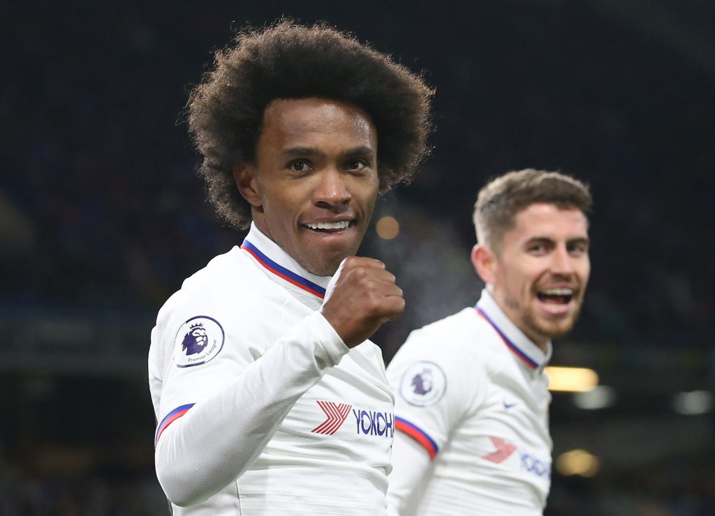 BURNLEY, ENGLAND - OCTOBER 26: Willian of Chelsea celebrates after scoring his team's fourth goal during the Premier League match between Burnley FC and Chelsea FC at Turf Moor on October 26, 2019 in Burnley, United Kingdom. (Photo by Jan Kruger/Getty Images)
