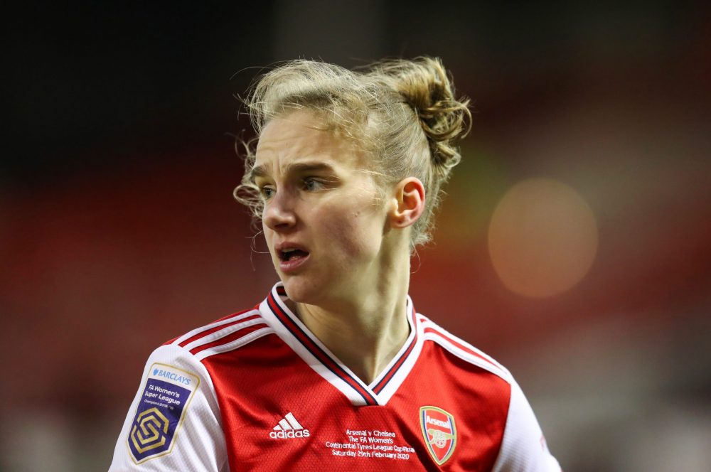 NOTTINGHAM, ENGLAND - FEBRUARY 29: Vivianne Miedema of Arsenal during the FA Women's Continental League Cup Final Chelsea FC Women and Arsenal FC Women at City Ground on February 29, 2020 in Nottingham, England. (Photo by Catherine Ivill/Getty Images)
