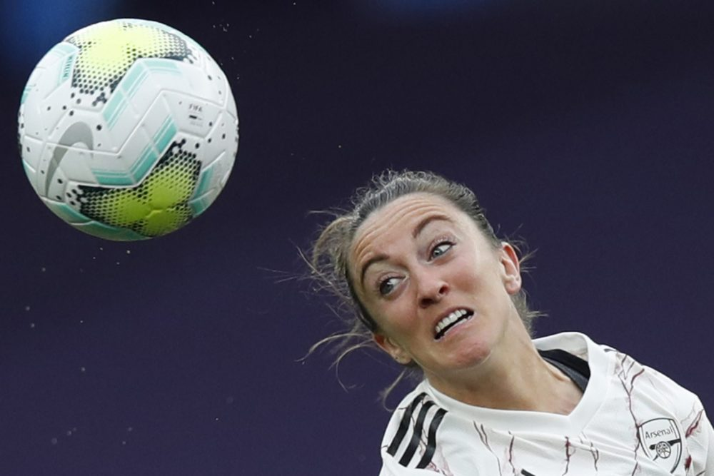 Arsenal's Scottish forward Lisa Evans goes for a header during the UEFA Women's Champions League quarter-final football match between Arsenal and Paris SG at the Anoeta stadium in San Sebastian on August 22, 2020. (Photo by Clive Brunskill / POOL / AFP) (Photo by CLIVE BRUNSKILL/POOL/AFP via Getty Images)