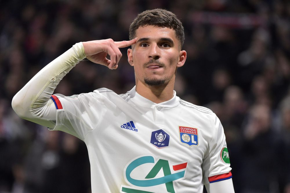 Lyon's French midfielder Houssem Aouar celebrates after scoring the opener during the French Cup quarter-final football match between Olympique Lyonnais and Olympique de Marseille at the Groupama stadium in Decines-Charpieu near Lyon, central eastern France on February 12, 2020. (Photo by ROMAIN LAFABREGUE / AFP)