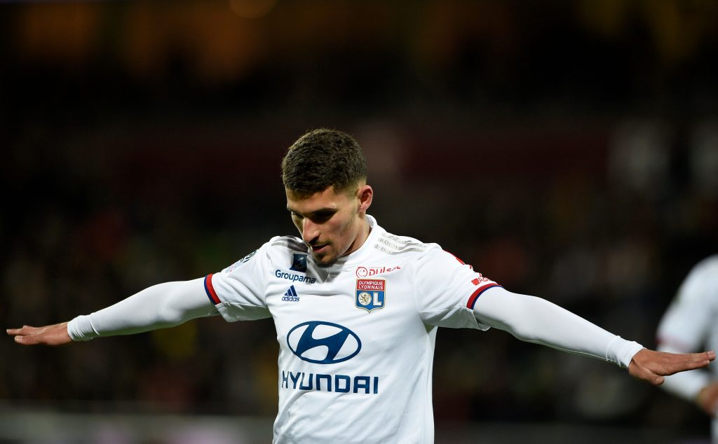 Lyon's French midfielder Houssem Aouar celebrates after scoring a goal during the French L1 football match between FC Metz and Olympique Lyonnais at the Saint Symphorien stadium in Longeville-lès-Metz, eastern France, on February 21, 2020. (Photo by JEAN-CHRISTOPHE VERHAEGEN / AFP)