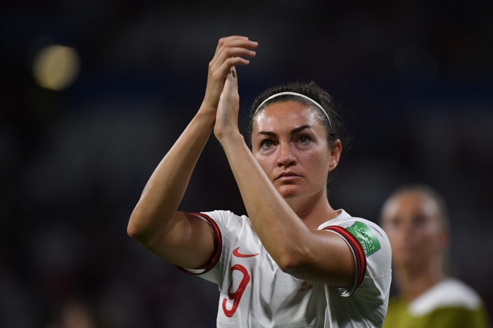 England's forward Jodie Taylor reacts after losing the France 2019 Women's World Cup semi-final football match between England and USA, on July 2, 2019, at the Lyon Satdium in Decines-Charpieu, central-eastern France. (Photo by Jean-Pierre Clatot / AFP)