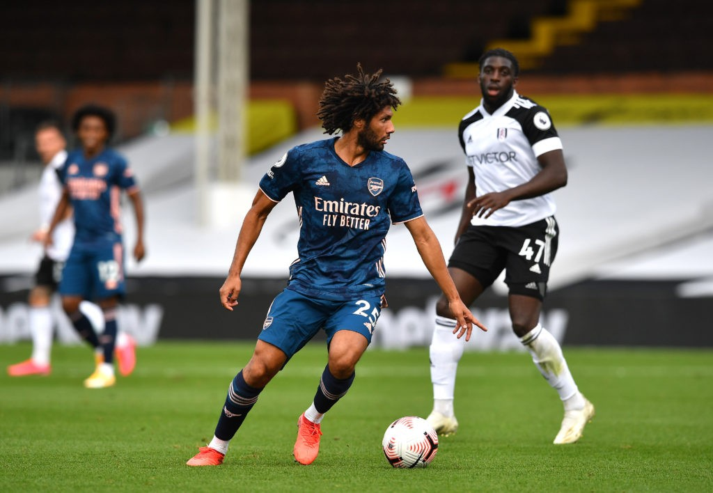 LONDON, ENGLAND - SEPTEMBER 12: Mohamed Elneny of Arsenal controls the ball during the Premier League match between Fulham and Arsenal at Craven Cottage on September 12, 2020 in London, England. (Photo by Ben Stansall - Pool/Getty Images)