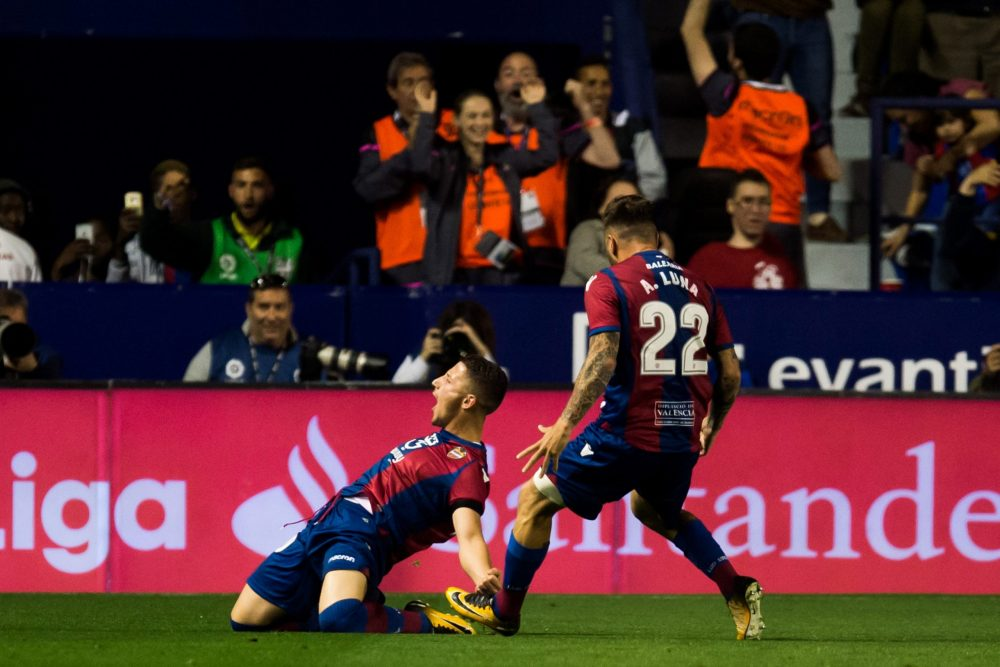 VALENCIA, SPAIN - MAY 13: Enis Bardhi of Levante UD celebrates after scoring his team's third goal during the La Liga match between Levante UD and FC Barcelona at Estadi Ciutat de Valencia on May 13, 2018 in Valencia, Spain. (Photo by Alex Caparros/Getty Images)