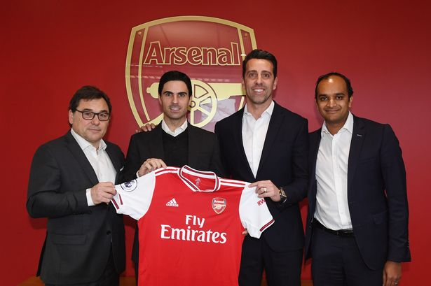 Raul Sanllehi, Mikel Arteta, Edu and Vinai Venkatesham (Photo via Arsenal)