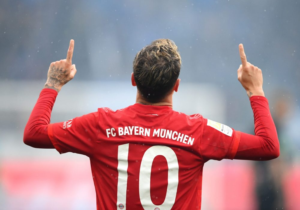 SINSHEIM, GERMANY - FEBRUARY 29: Philippe Coutinho of Bayern Munich celebrates after scoring his sides fifth goal during the Bundesliga match between TSG 1899 Hoffenheim and FC Bayern Muenchen at PreZero-Arena on February 29, 2020 in Sinsheim, Germany. (Photo by Matthias Hangst/Bongarts/Getty Images)