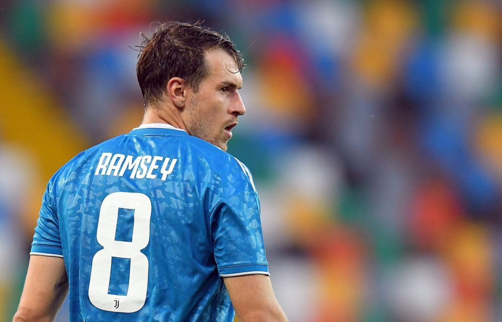 UDINE, ITALY - JULY 23: Aaron Ramsey of Juventus looks on during the Serie A match between Udinese Calcio and Juventus at Stadio Friuli on July 23, 2020 in Udine, Italy. (Photo by Alessandro Sabattini/Getty Images)