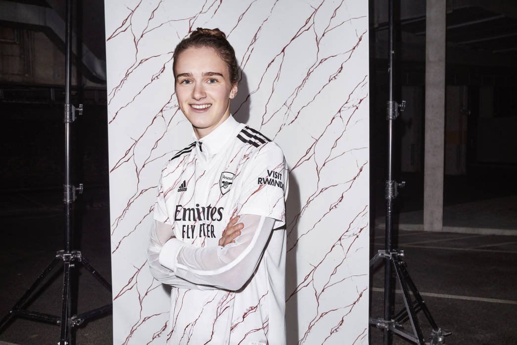Vivianne Miedema helps launch the kit Arsenal women will wear on Saturday night