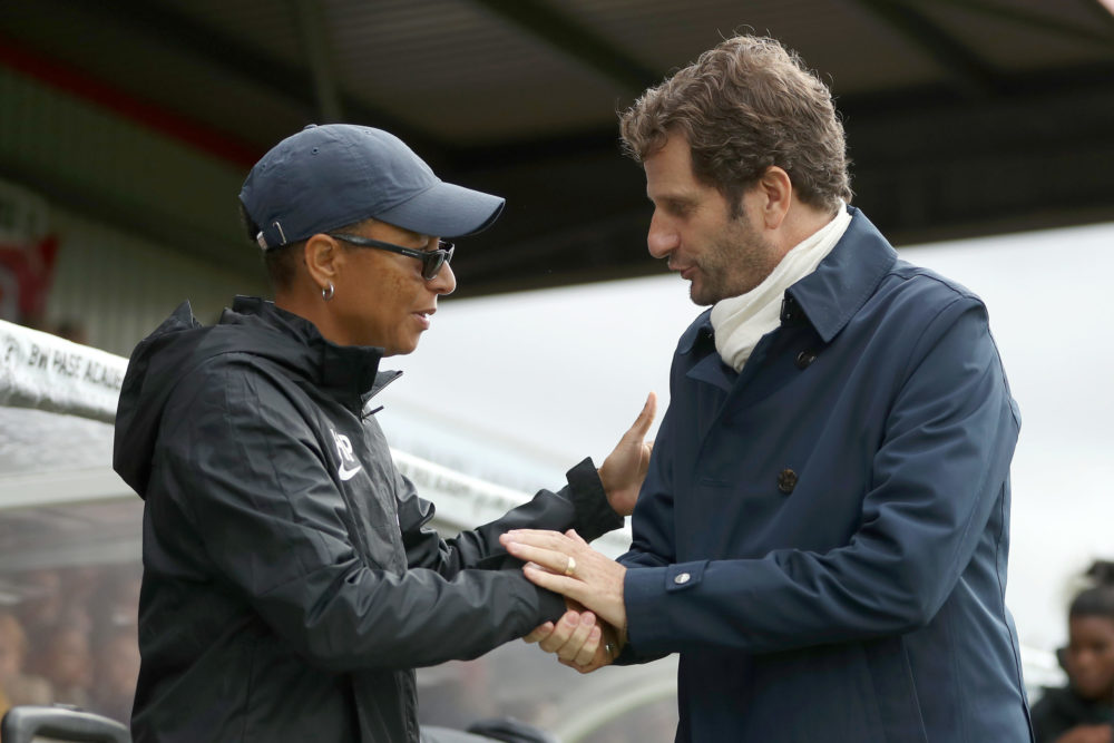 BOREHAMWOOD, ENGLAND - SEPTEMBER 29: Hope Powell, Manager of Brighton & Hove Albion and Joe Montemurro, Manager of Arsenal shake hands ahead of the Barclays FA Women's Super League match between Arsenal and Brighton & Hove Albion at Meadow Park on September 29, 2019 in Borehamwood, United Kingdom. (Photo by Kate McShane/Getty Images)
