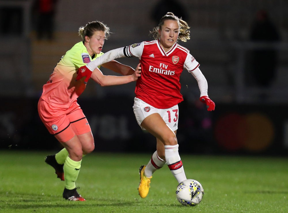 BOREHAMWOOD, ENGLAND - JANUARY 29: Lia Walti of Arsenal is challenged by Ellen White of Manchester City during the FA Women's Continental League Cup Semi-Final match between Arsenal Women and Manchester City Women at Meadow Park on January 29, 2020 in Borehamwood, England. (Photo by James Chance/Getty Images)