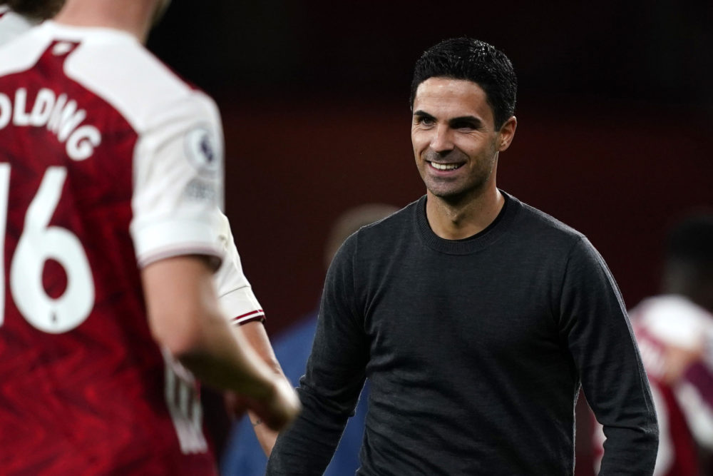 LONDON, ENGLAND - SEPTEMBER 19: Mikel Arteta, Manager of Arsenal reacts following the Premier League match between Arsenal and West Ham United at Emirates Stadium on September 19, 2020 in London, England. (Photo by Will Oliver - Pool/Getty Images)