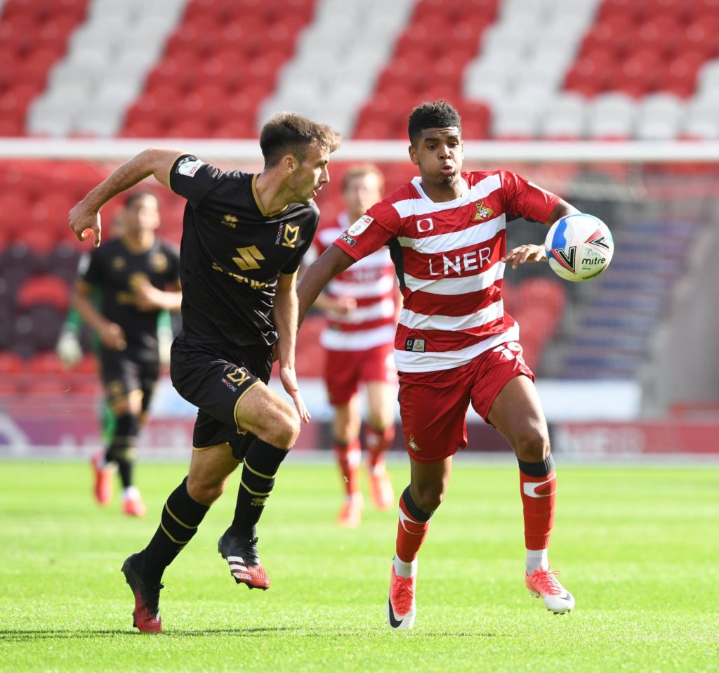 Tyreece John-Jules on his debut against MK Dons (Photo via DoncasterFreePress.co.uk)