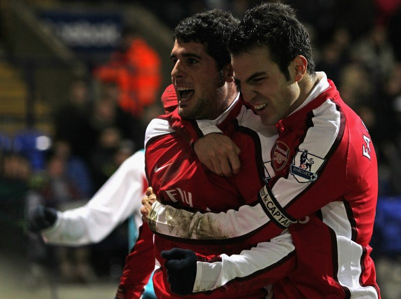 BOLTON, ENGLAND - JANUARY 17: Fran Merida of Arsenal celebrates scoring his team's second goal with team mate Cesc Fabregas (R) during the Barclays Premier League match between Bolton Wanderers and Arsenal at the Reebok Stadium on January 17, 2010 in Bolton, England. (Photo by Alex Livesey/Getty Images)