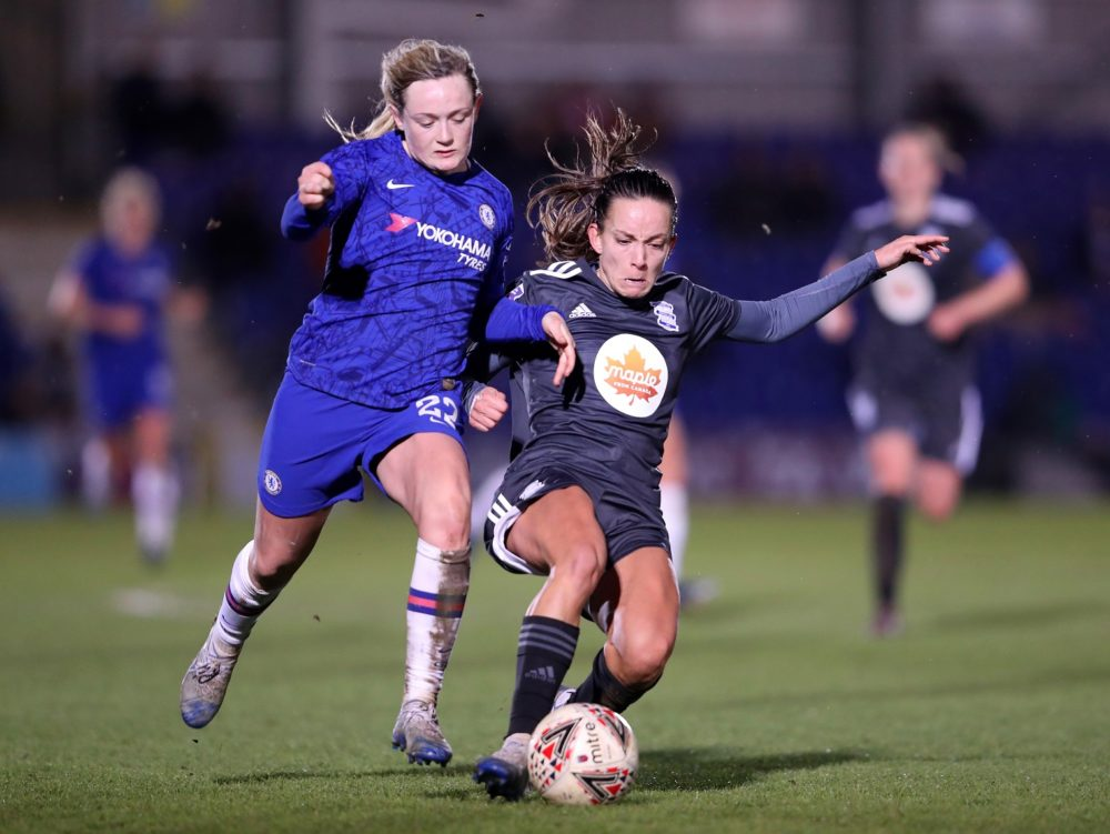 KINGSTON UPON THAMES, ENGLAND - FEBRUARY 12: Lucy Staniforth of Birmingham City is challenged by Erin Cuthbert of Chelsea during the Barclays FA Women's Super League match between Chelsea and Birmingham City at Kingsmeadow on February 12, 2020 in Kingston upon Thames, United Kingdom. (Photo by Linnea Rheborg/Getty Images)