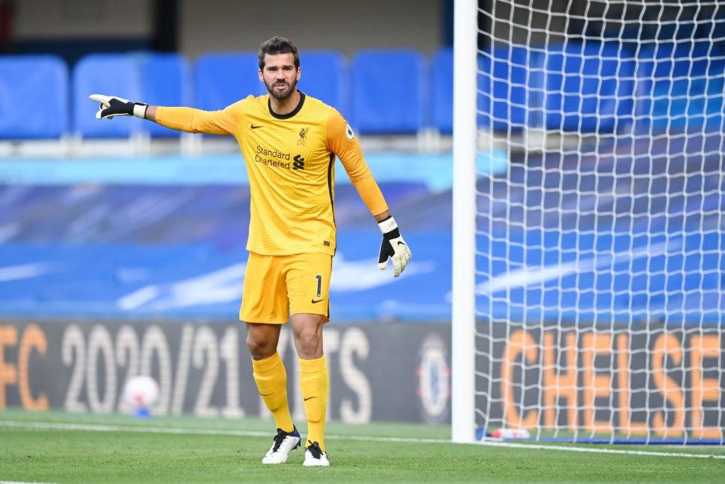 LONDON, ENGLAND - SEPTEMBER 20: Alisson Becker of Liverpool in action during the Premier League match between Chelsea and Liverpool at Stamford Bridge on September 20, 2020 in London, England. (Photo by Michael Regan/Getty Images)