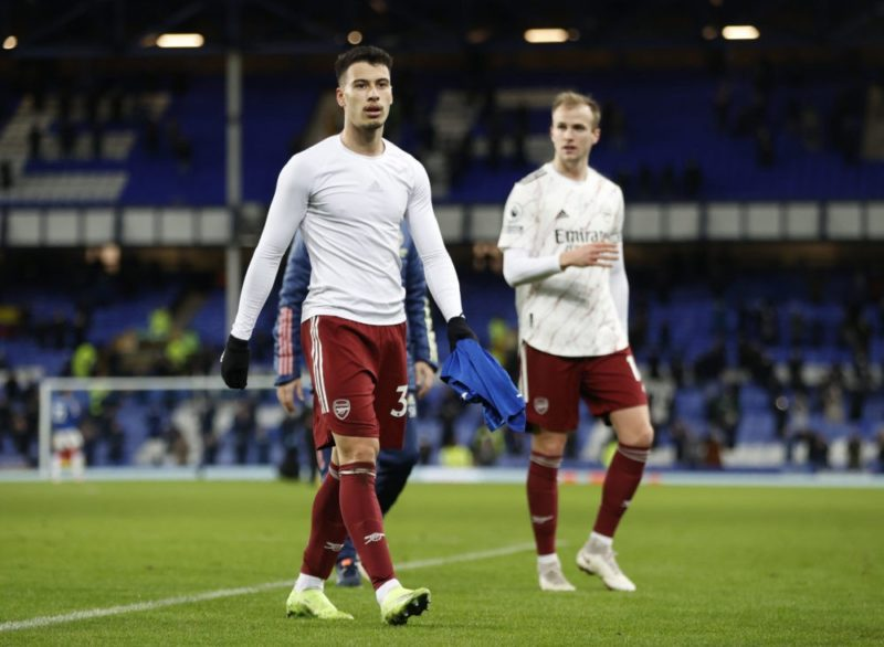 LIVERPOOL, ENGLAND - DECEMBER 19: Gabriel Martinelli of Arsenal looks dejected following his team's defeat in the Premier League match between Everton and Arsenal at Goodison Park on December 19, 2020 in Liverpool, England. A limited number of fans (2000) are welcomed back to stadiums to watch elite football across England. This was following easing of restrictions on spectators in tiers one and two areas only. (Photo by Clive Brunskill/Getty Images)