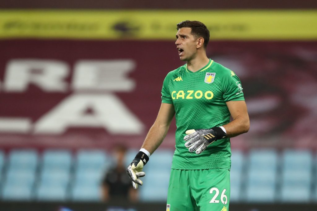 Aston Villa's Argentine goalkeeper Emiliano Martinez during the English Premier League football match between Aston Villa and Sheffield Utd at Villa Park in Birmingham, central England on September 21, 2020. (Photo by TIM GOODE/POOL/AFP via Getty Images)