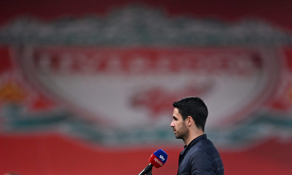 Arsenal's Spanish manager Mikel Arteta speaks during a pre-match interview with Sky Sports ahaead of the English Premier League football match between Liverpool and Arsenal at Anfield in Liverpool, north west England on September 28, 2020. (Photo by Laurence Griffiths / POOL / AFP)
