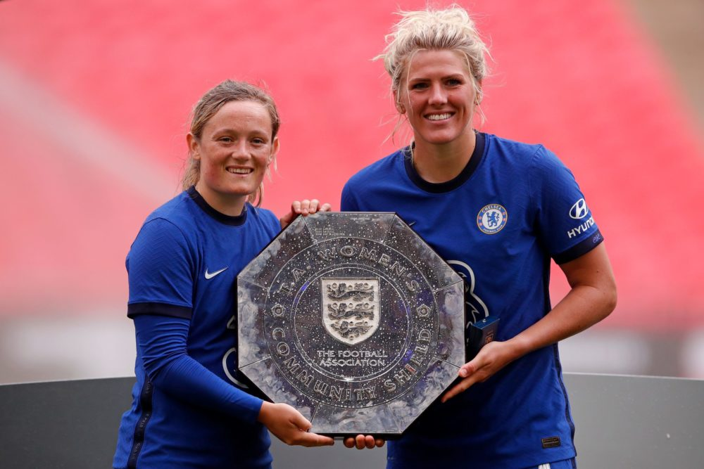 Chelsea's goal scorers Scottish striker Erin Cuthbert (L) and Chelsea's English defender Millie Bright (R) lifts the trophy after winning the English FA Women's Community Shield football match between Chelsea and Manchester City at Wembley Stadium in north London on August 29, 2020. - Chelsea Women won the match 2-0 against Manchester City Women. (Photo by ANDREW COULDRIDGE / POOL / AFP)