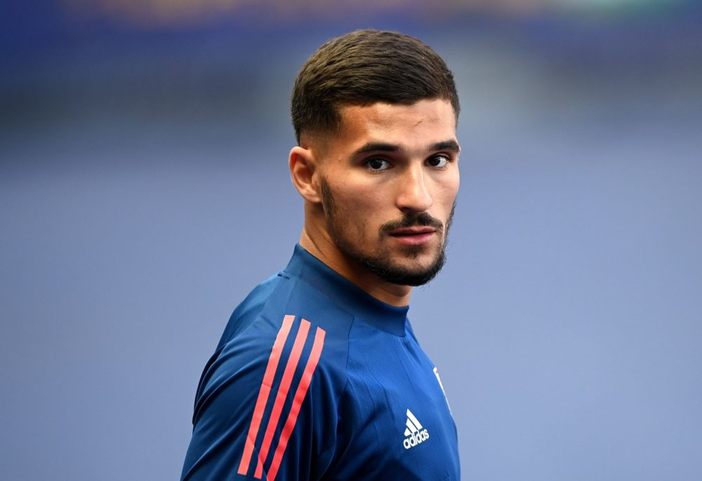 Lyon's forward Houssem Aouar arrives for a training session at the Stade de France stadium in Saint-Denis, north of Paris, on July 30, 2020, on the eve of the French League Cup final football match between Paris Saint-Germain (PSG) and Olympique Lyonnais (OL). (Photo by FRANCK FIFE/AFP via Getty Images)