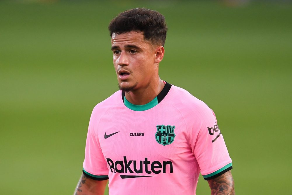 BARCELONA, SPAIN - SEPTEMBER 16: Philippe Coutinho of FC Barcelona looks on during the during the pre-season friendly match between FC Barcelona and Girona at Estadi Johan Cruyff on September 16, 2020 in Barcelona, Spain. (Photo by David Ramos/Getty Images)