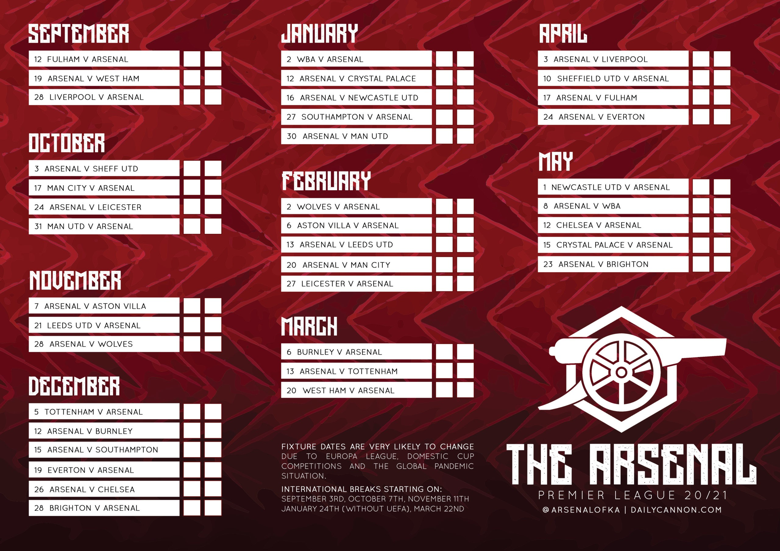 Free Arsenal Premier League 20 21 Fixtures Printables