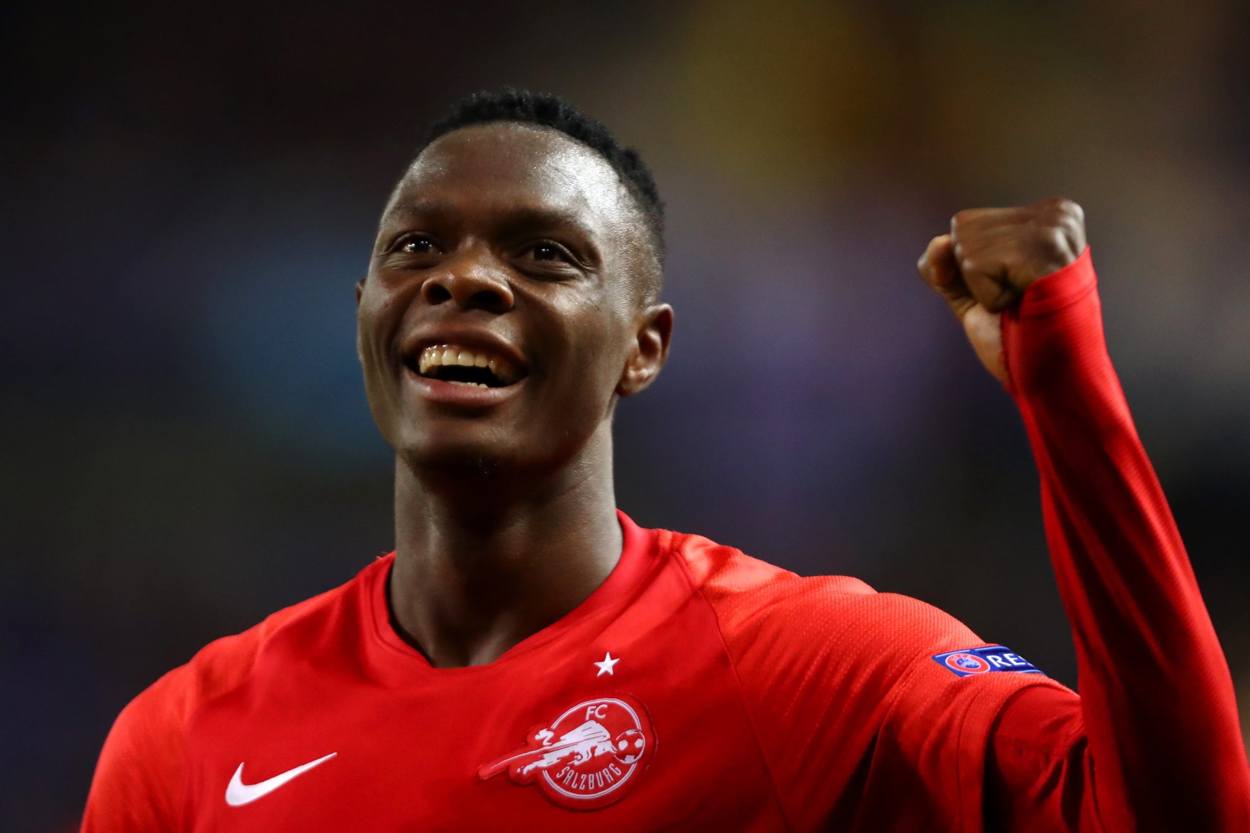 GENK, BELGIUM - NOVEMBER 27: Patson Daka of RB Salzburg celebrates scoring a goal of the game during the UEFA Champions League group E match between KRC Genk and RB Salzburg at Luminus Arena on November 27, 2019 in Genk, Belgium. (Photo by Dean Mouhtaropoulos/Getty Images)