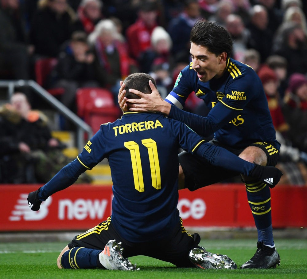 LIVERPOOL, ENGLAND - OCTOBER 30: Lucas Torreira of Arsenal celebrates after scoring his team's first goal with Hector Bellerin of Arsenal during the Carabao Cup Round of 16 match between Liverpool and Arsenal at Anfield on October 30, 2019 in Liverpool, England. (Photo by Laurence Griffiths/Getty Images)
