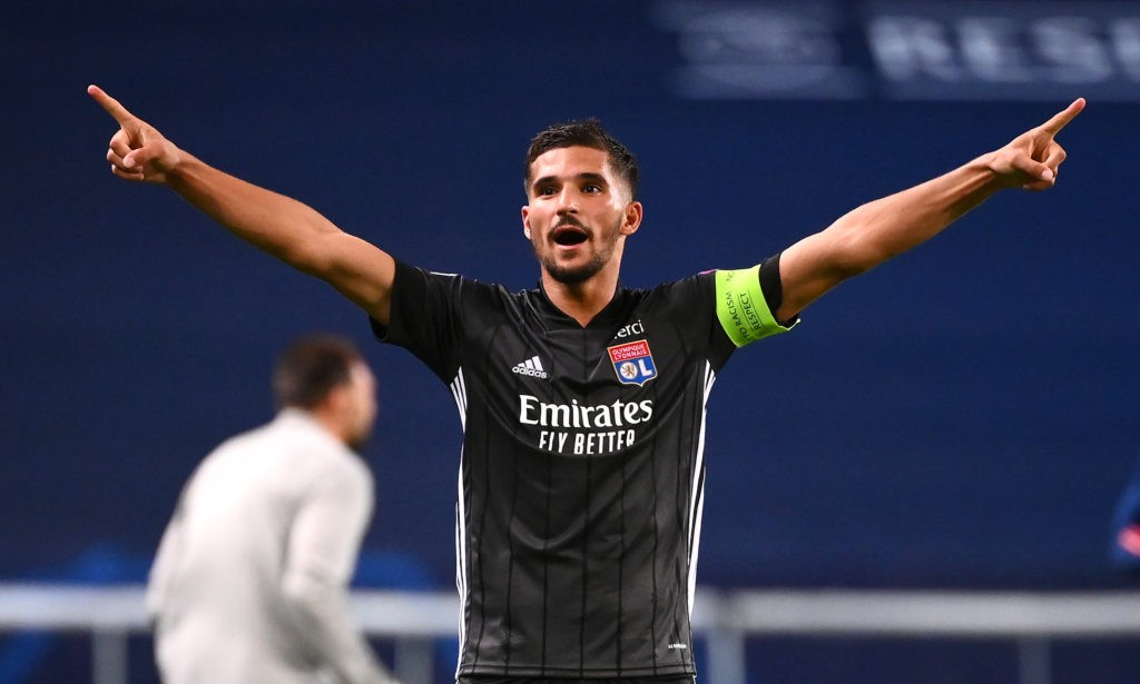 LISBON, PORTUGAL - AUGUST 15: Houssem Aouar of Olympique Lyon celebrates following his team's victory in the UEFA Champions League Quarter Final match between Manchester City and Lyon at Estadio Jose Alvalade on August 15, 2020 in Lisbon, Portugal. (Photo by Franck Fife/Pool via Getty Images)