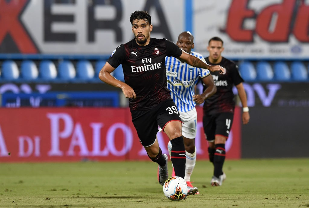 FERRARA, ITALY - JULY 01: Lucas Paqueta of AC Milan during the Serie A match between SPAL and AC Milan at Stadio Paolo Mazza on July 1, 2020 in Ferrara, Italy. (Photo by Chris Ricco/Getty Images)