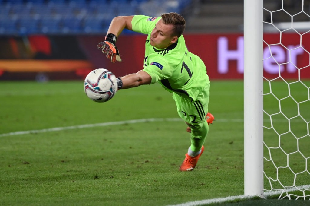 BASEL, SWITZERLAND - SEPTEMBER 06: Goalkeeper Bernd Leno of Germany makes a save during the UEFA Nations League group stage match between Switzerland and Germany at St. Jakob-Park on September 06, 2020 in Basel, Switzerland. (Photo by Matthias Hangst/Getty Images)