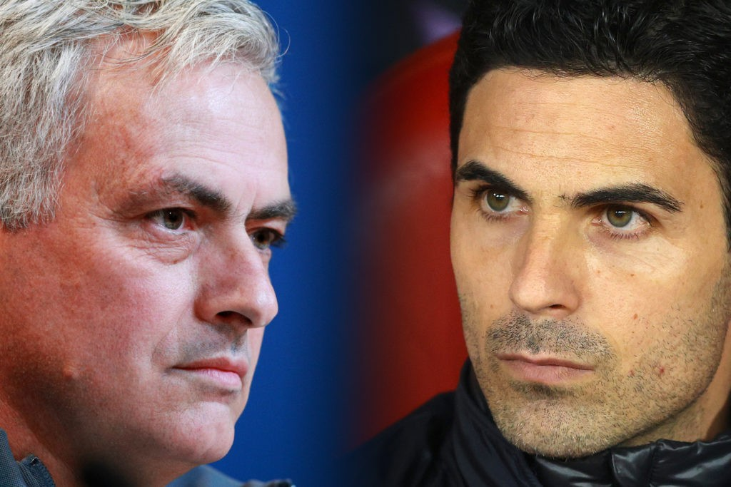 FILE PHOTO (EDITORS NOTE: COMPOSITE OF IMAGES - Image numbers 1193147331, 1207576912 - GRADIENT ADDED) In this composite image a comparison has been made between Jose Mourinho, head coach of Tottenham Hotspur (L) and Mikel Arteta, Manager of Arsenal. Tottenham Hotspur and Arsenal meet in a Premier League match on July 12,2020 at the Tottenham Hotspur Stadium in London,England. ***LEFT IMAGE*** MUNICH, GERMANY - DECEMBER 10: Jose Mourinho, head coach of Tottenham Hotspur, looks on during a press conference at Allianz Arena on December 10, 2019 in Munich, Germany. Tottenham Hotspur will face FC Bayern Muenchen during the UEFA Champions League group B match on December 11, 2019. (Photo by Adam Pretty/Bongarts/Getty Images) ***RIGHT IMAGE*** PIRAEUS, GREECE - FEBRUARY 20: Mikel Arteta, Manager of Arsenal looks on prior to the UEFA Europa League round of 32 first leg match between Olympiacos FC and Arsenal FC at Karaiskakis Stadium on February 20, 2020 in Piraeus, Greece. (Photo by Richard Heathcote/Getty Images)