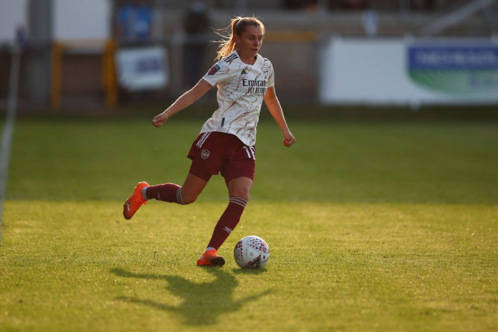 DAGENHAM, ENGLAND - SEPTEMBER 12: Noelle Maritz of Arsenal during the Barclays FA Women's Super League match between West Ham United and Arsenal at Chigwell Construction Stadium on September 12, 2020 in Dagenham, England. (Photo by Marc Atkins/Getty Images)