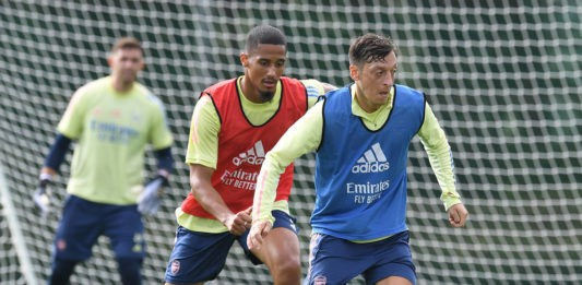 ST ALBANS, ENGLAND - SEPTEMBER 08: of Arsenal during a training session at London Colney on September 08, 2020 in St Albans, England. (Photo by Stuart MacFarlane/Arsenal FC via Getty Images)