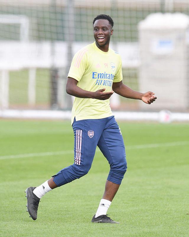 James Olayinka in training with Arsenal (Photo via Olayinka on Instagram)