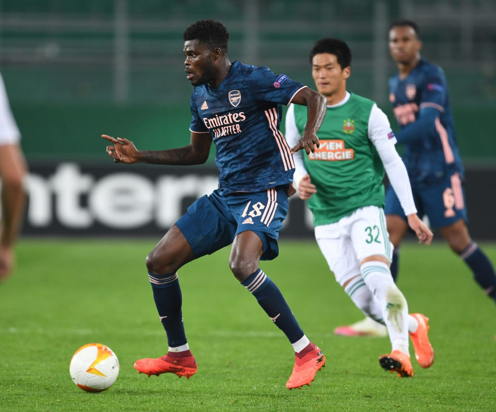 VIENNA, AUSTRIA: Thomas Partey of Arsenal with the ball during the UEFA Europa League Group B stage match between Rapid Wien and Arsenal FC at Allianz Stadion on October 22, 2020 in Vienna, Austria. (Photo via Stuart MacFarlane on Twitter)