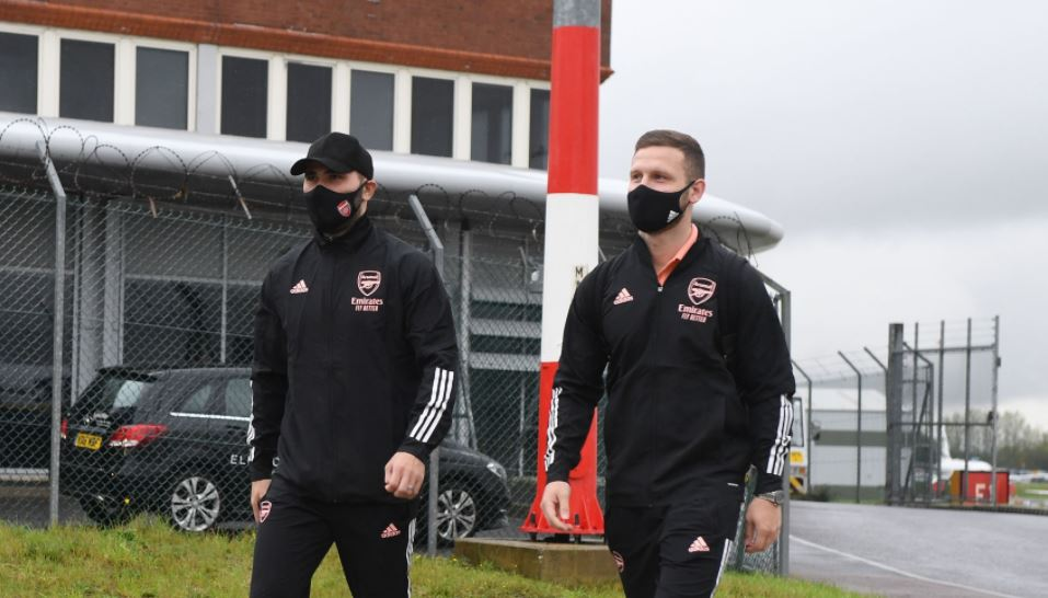 LUTON, ENGLAND - OCTOBER 21: (L-R) Sead Kolasinac and Shkodran Mustafi of Arsenal at Luton Airport on October 21, 2020 in Luton, England. (Photo by Stuart MacFarlane/Arsenal FC via Getty Images)